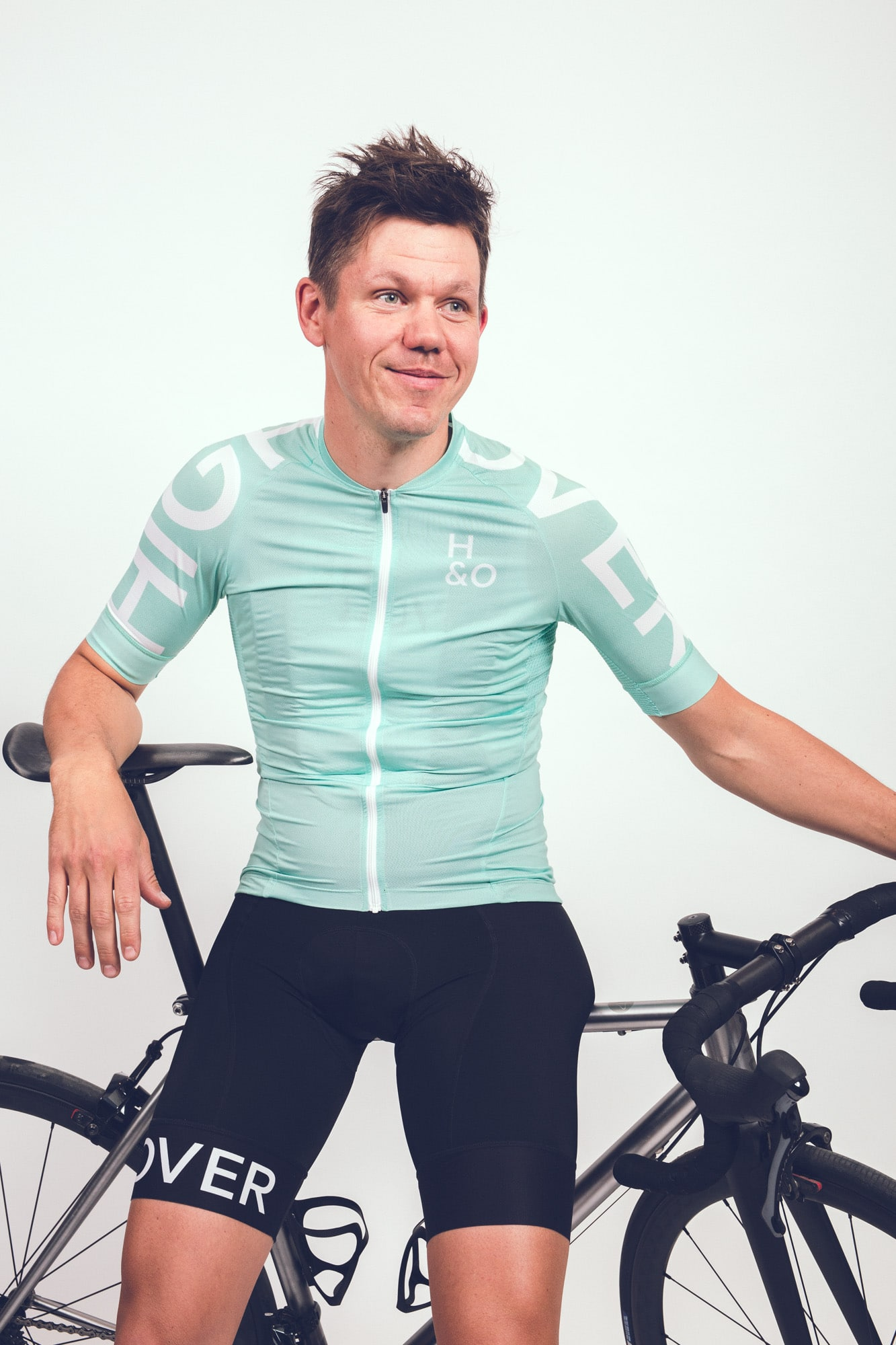 HIGH and OVER copper green cycling jersey