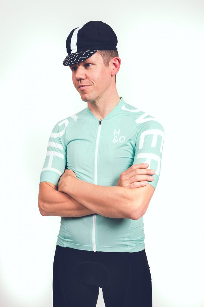 HIGH and OVER copper cycling jersey