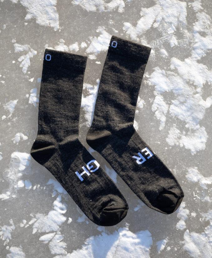 H&O merino socks with recycled logos